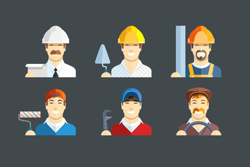 Building occupation. Set of flat icons. Eps10 vector