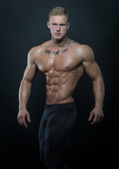 Muscled model with ink