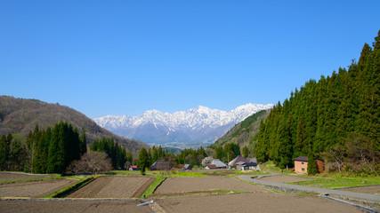 Landscape of Aoni in Hakuba village, Nagano, Japan