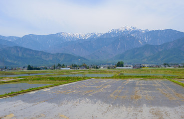 Landscape in Matsumoto basin and the northern Japan Alps in Naga