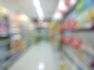 supermarket with blurred bokeh background