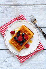 waffles with berries top view
