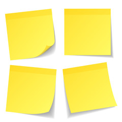 4 Yellow Stick Notes Set Color