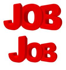 job lavoro parola 3d rossa, isolata su fondo bianco