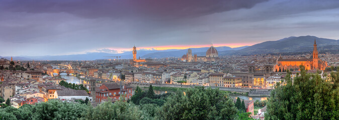 Panoramic view of Florence at sunset from Piazzale Michelangelo,