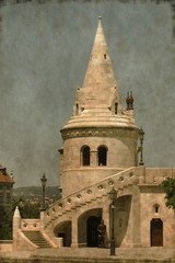 Fisherman Bastion in Budapest, Hungary - Vintage