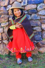 Aymara girl en traditional clothes