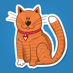 Cute character. Cat with heart on collar.
