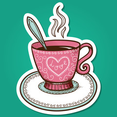 Tea or coffee cup with heart.