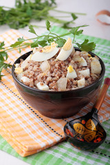 Buckwheat porridge with onions and boiled eggs