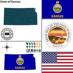 Map of state Kansas, USA