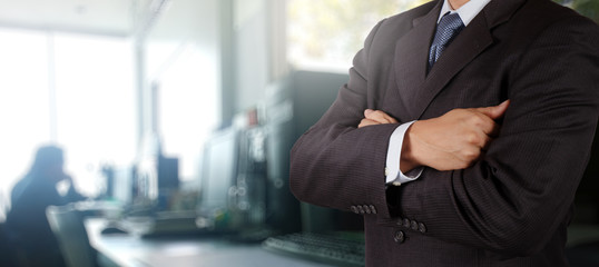 businessman success with his office  background as concept