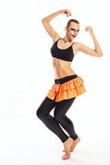 Girl with clown makeup dances