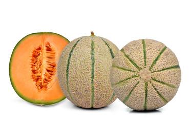 orange cantaloupe melon isolated on white background
