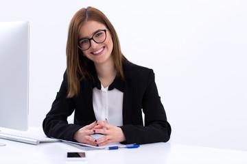 Beautiful businesswoman working in office