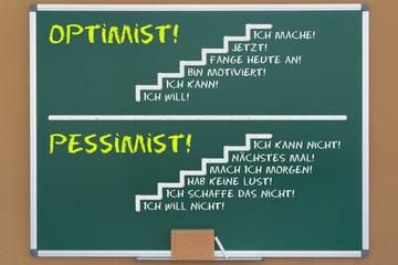 Kreidetafel - Optimist!,Pessimist!