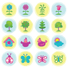 Spring Season Object Icons Set Hand Draw Style