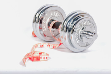 dumbbell weight with tape measure(tape line),on Isolated