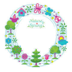 Spring Season Object Icons Wreath Hand Draw Style