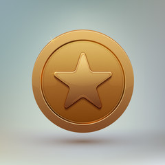 Coin with star isolated on gray background.