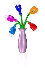 Stromanbieter-Wahl, Vase mit Blumen-Steckern