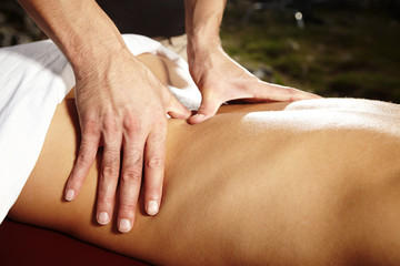 Outdoor massage on open air