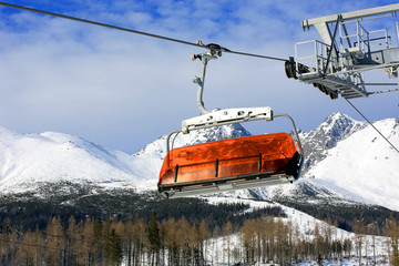 Skilift on winter resort