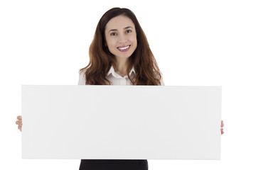 Business woman presenting a blank advertisement poster