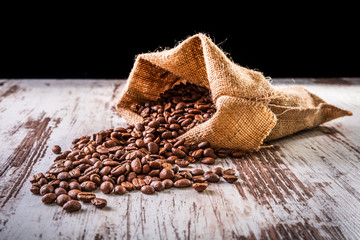 Coffee beans in linen bag