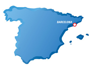 Vector drawing map of Spain and Barcelona