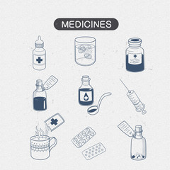 Medicines drugs collection.