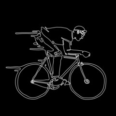 Vector illustrate of a man rides a bicycle