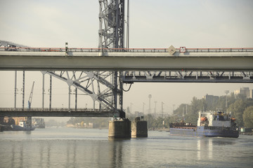 Passage of the ship under the drawbridge morning in Rostov-on-D