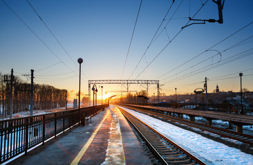 view of railway station before sunset