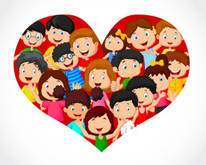 Crowd of children in heart formation