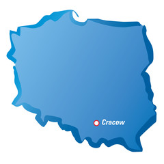 Vector map of Poland and Cracow