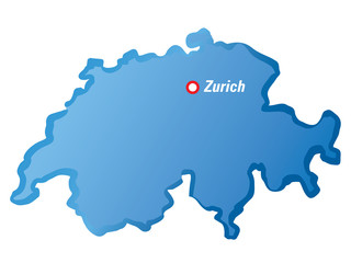 Vector drawing map of Switzerland and Zurich.