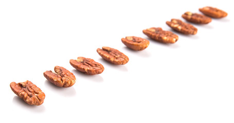 Pecan nut over white background