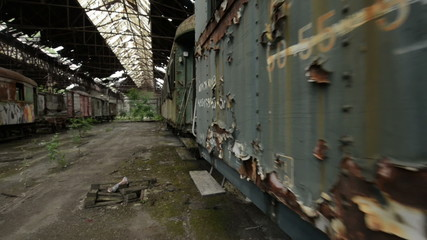 Cargo trains in old train depot glidecam footage
