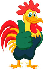 Cartoon rooster giving thumbs up