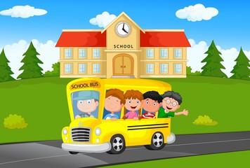 School Kids Riding a Schoolbus