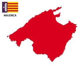 majorca map with flag
