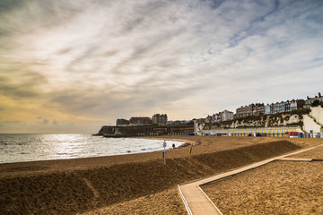 Broadstairs. Sand banked to protect the beach from erosion.