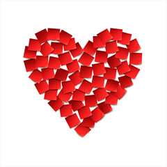 Heart. Red paper stickers