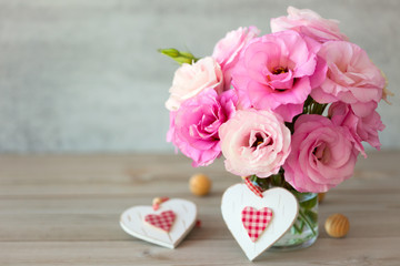 Two Handmade Valentine's Hearts and beautiful flowers