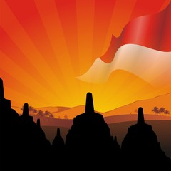 indonesian flag with & borobudur sunset
