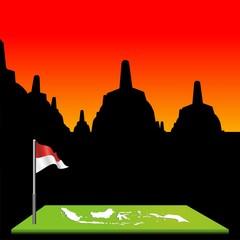 indonesian flag with map & borobudur sunset