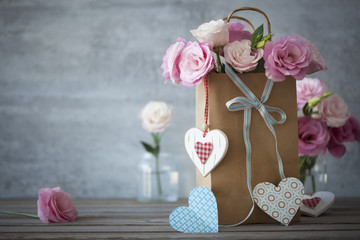 Love's still life background with roses