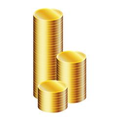Gruzzolo di monete allineate