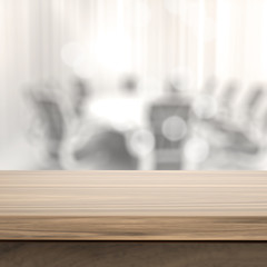 Empty table and blurred  background for business product present